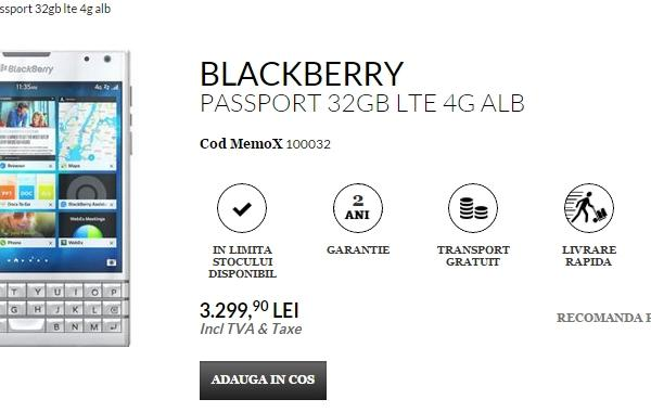 Varianta de culoare albă a lui BlackBerry Passport disponibilă la QuickMobile