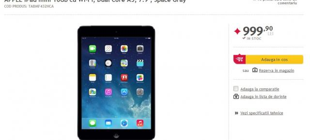 iPad Mini 16 GB WiFi disponibil prin intermediul Altex și Mediagalaxy la prețul de 999 lei